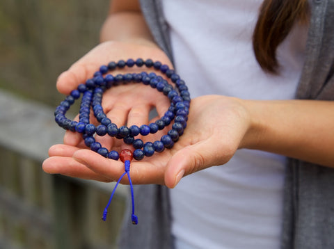 108 Lapis and Coral Mala