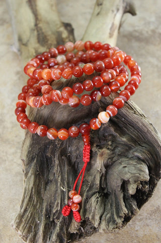 108 Bead Striped Red Agate Tibetan Mala