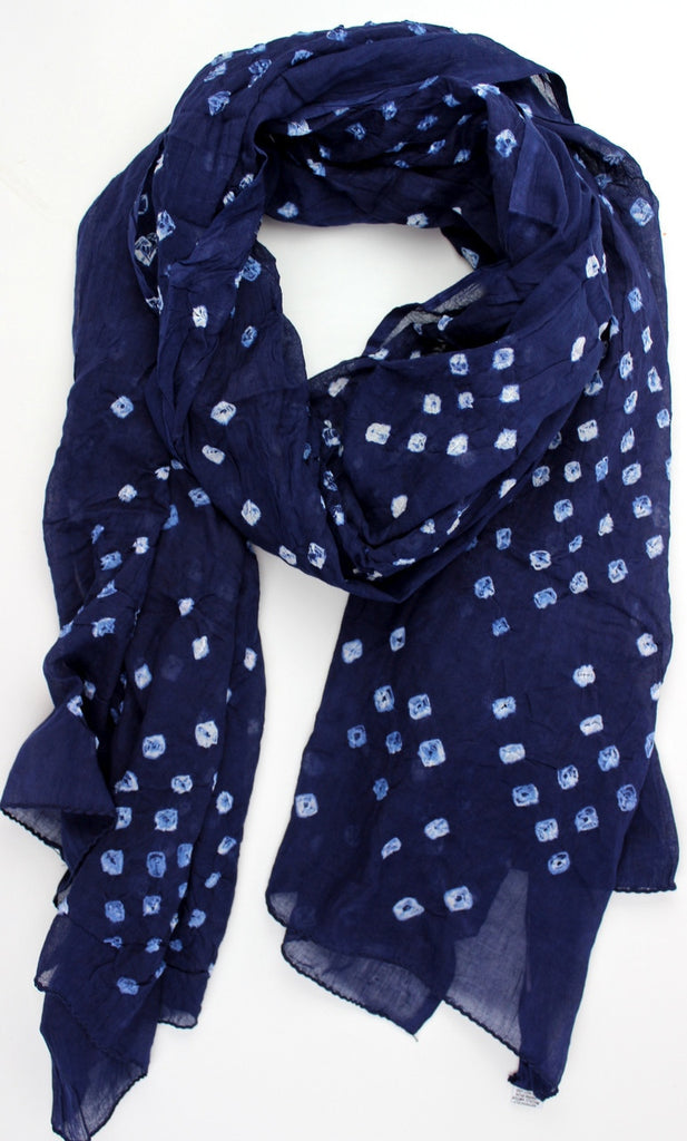 Blueberry Sheer Batik Cotton Scarf