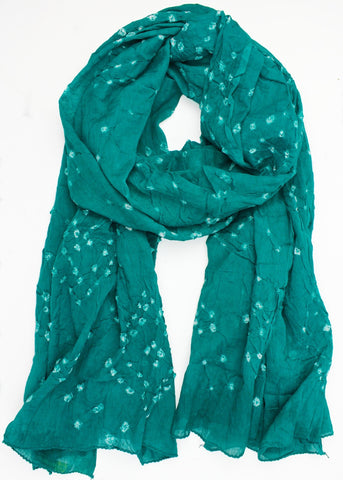 Light Green Batik Sheer Cotton Scarf