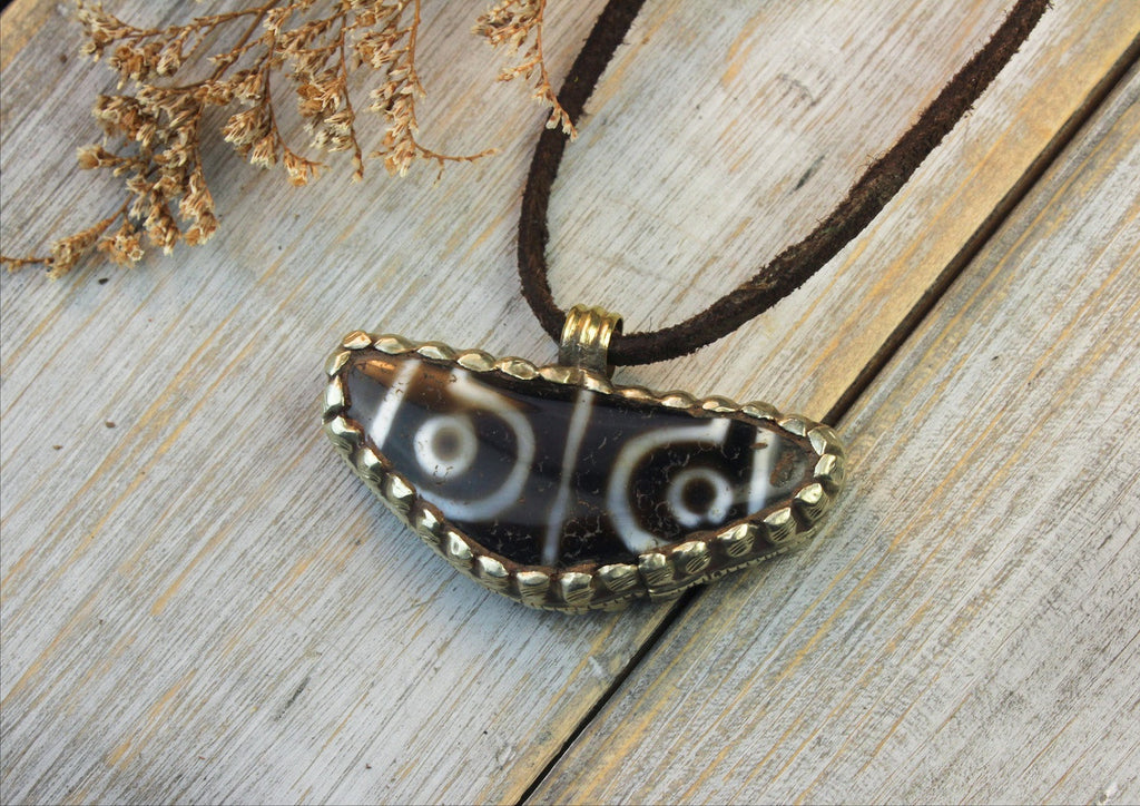 Silver Wrapped 4 Eye Agate Dzi Amulet on Leather Cord