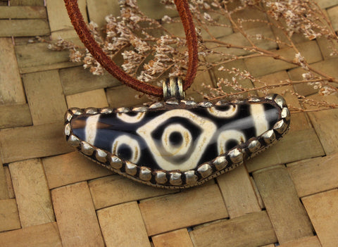 Silver Wrapped 10 Eye Agate Dzi Amulet on Leather Cord