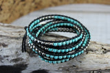 Turquoise and Silver Bead Wrap Bracelet