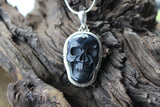 Onyx and Sterling Skull Pendant