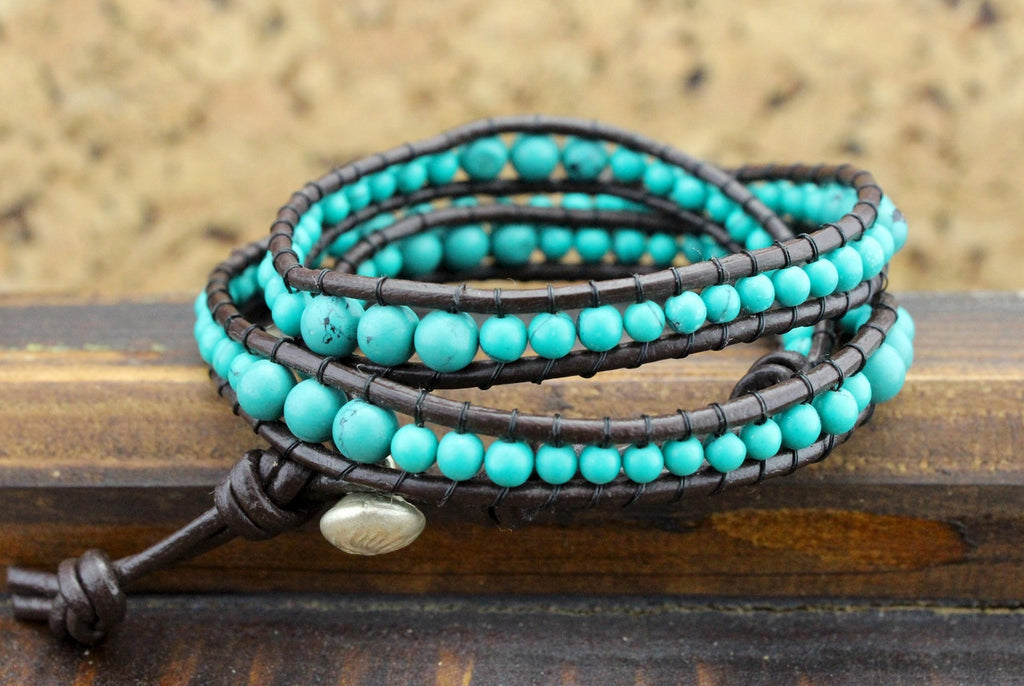 Leather and Turquoise Bead Wrap Bracelet