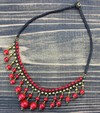 Brass and Coral Beaded Necklace