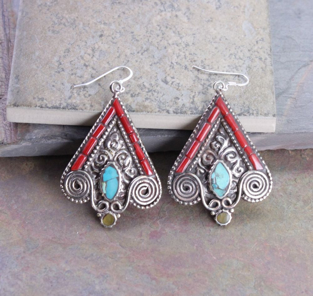 Tibetan Coral and Turquoise Earrings