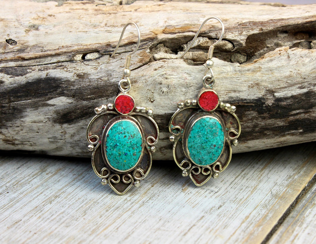 Hanging Leaf Turquoise Earrings