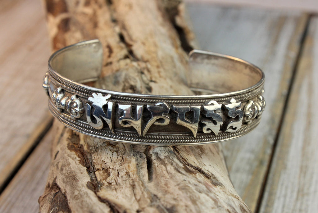 Solid Sterling Tibetan Mantra With Dorjes Bracelet