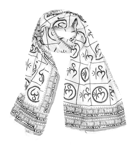 New Om Prayer Scarf in White