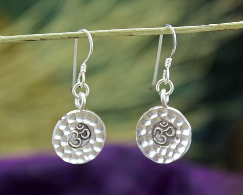 Hammered Silver Om Earrings