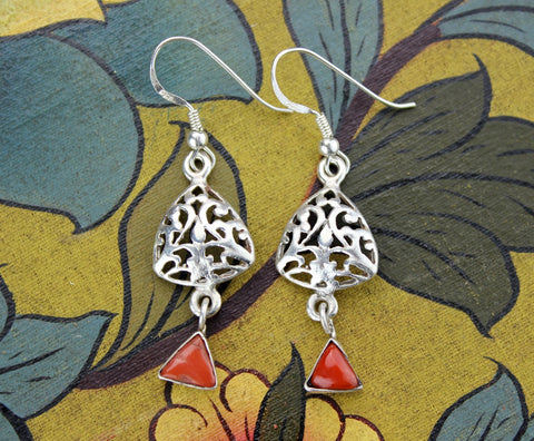 Sterling Silver and Coral 2 Tier Earrings
