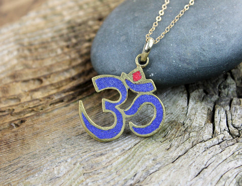 Lapis and Coral Om Pendant