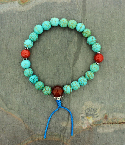 Turquoise and Red Jasper Wrist Mala