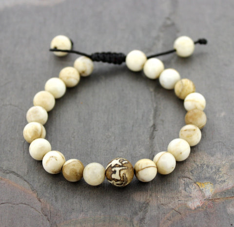Om Mani Naga Shell Adjustable Wrist Mala