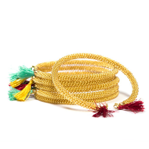 Woven Wire Brass Bracelets Set of 3