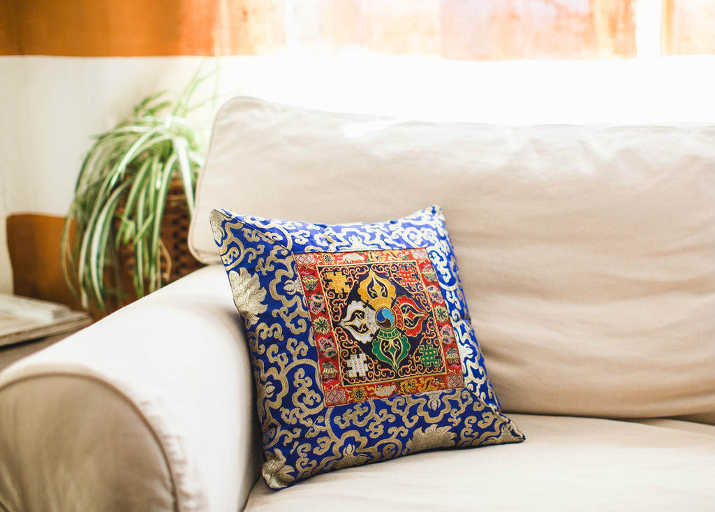 Blue Dorje hand Embroidered Pillow