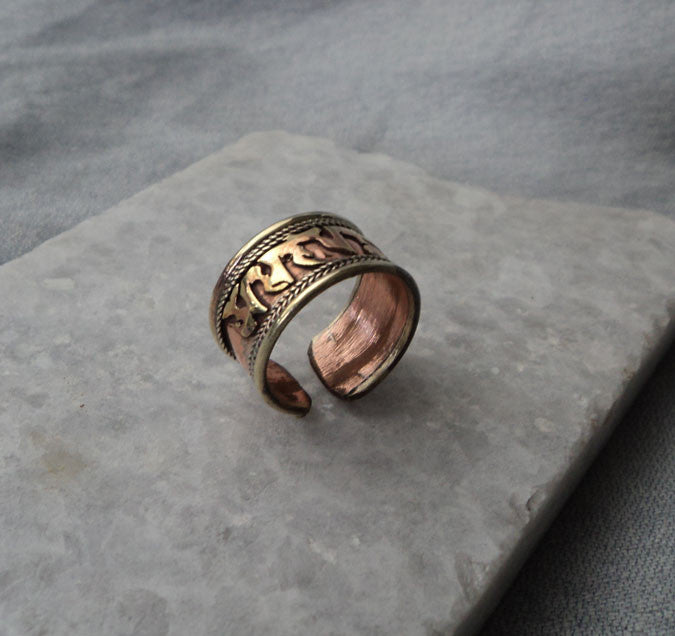 Copper Om Mani Adjustable Ring