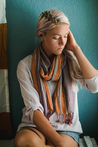 Orange and Purple Striped Woven Scarf