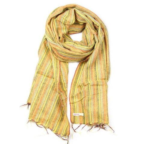 Hand Woven Yellow Striped Scarf