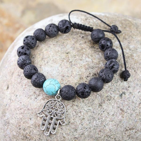 Auspicious Hamsa and Lava Rock Bracelet