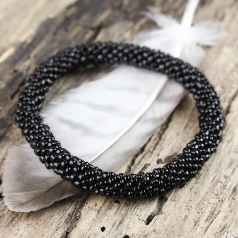 Earthquake Relief Beaded Bracelet in Black