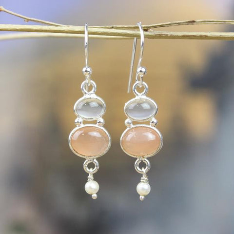 Spiritual Peach Moonstone Earrings