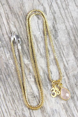 Rose Quartz and Om Kindness Necklace