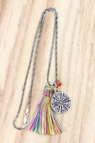 Sterling Thai Buddha Necklace with Tassel