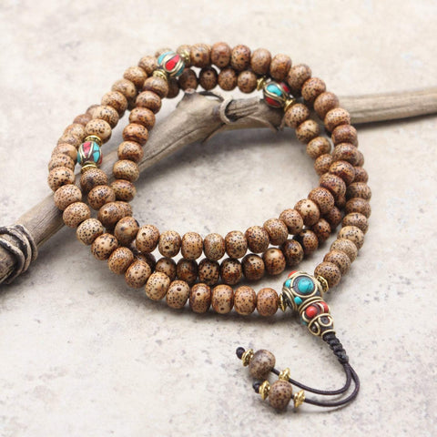 Mala Beads Divine Lotus Seed Mala with Vintage Beads ML601