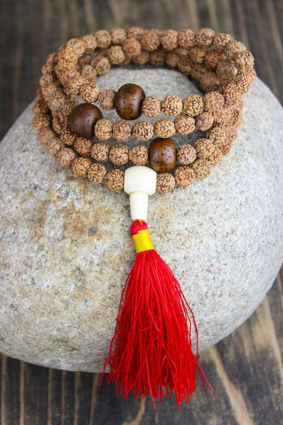 Mala Beads Divine Treasure Bodhi Seed and Rudraksha Mala ML502