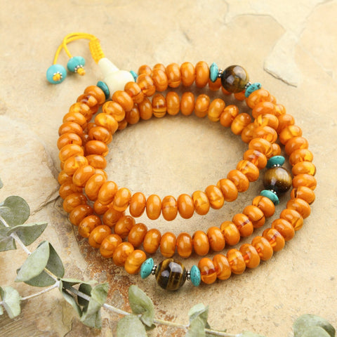 Faux Amber Healing and Protection Mala