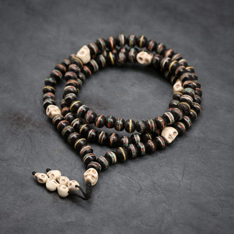 Mala Beads Inlaid Bone Impermanence Mala ML667