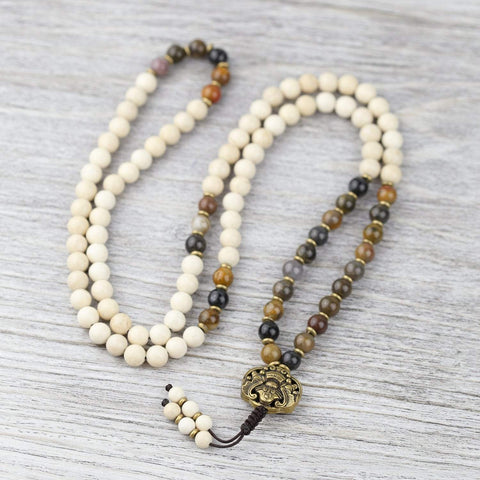 Mala Beads Riverstone and Fossil Jasper Protection Mala ML674