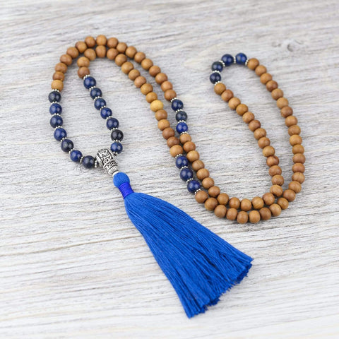 Mala Beads Sandalwood and Lapis Reflection Mala ML681