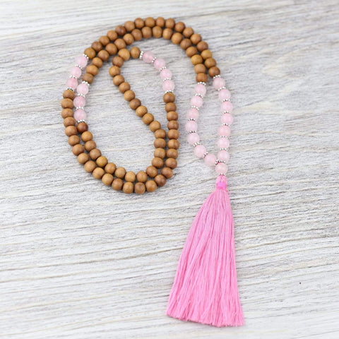 Mala Beads Sandalwood and Rose Quartz Compassion Mala ML683