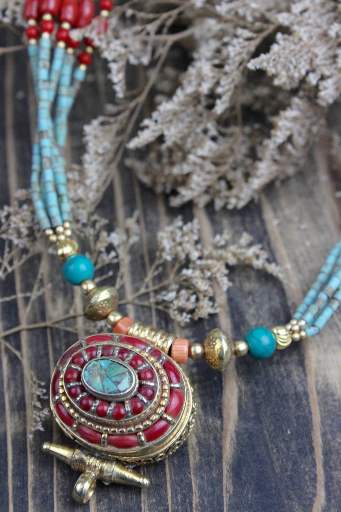 Tibetan Gold Locket Gau Necklace