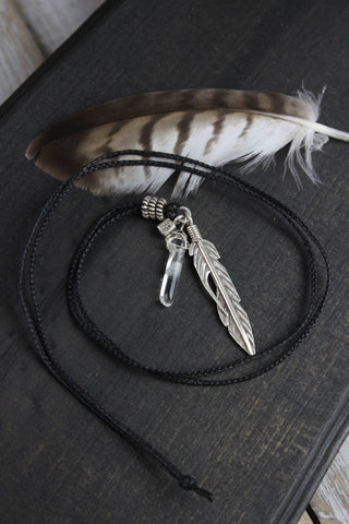 Silver Feather Truth and Health Necklace