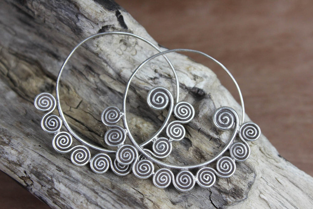 Silver Spiral Pattern of Growth Earrings