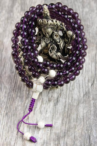 Calming Meditation Amethyst and Magnesite Mala