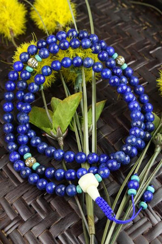 Powerful Lapis Stone and Mantra Bead Mala