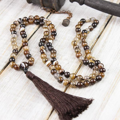 Strengthening Striped Agate Knotted Mala