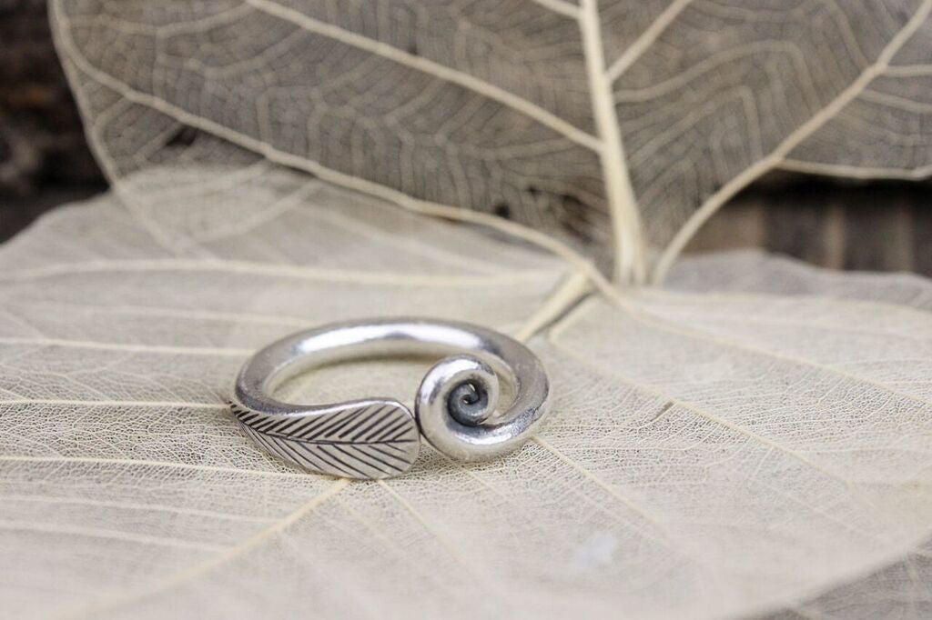 Feather Spiral Silver Ring