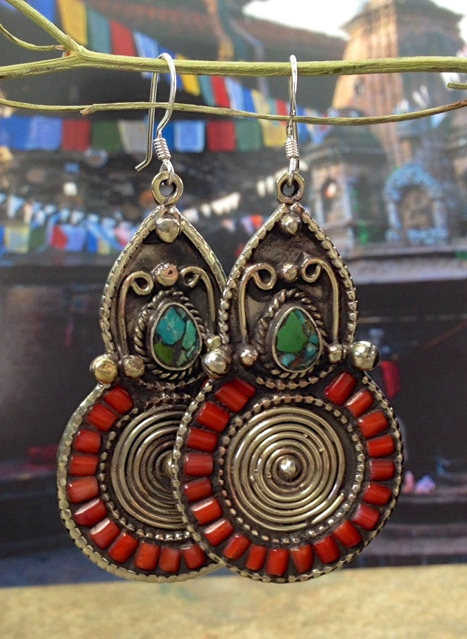 Bold and Spectacular Tibetan Earrings