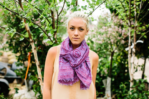 New Om Prayer Scarf in Purple