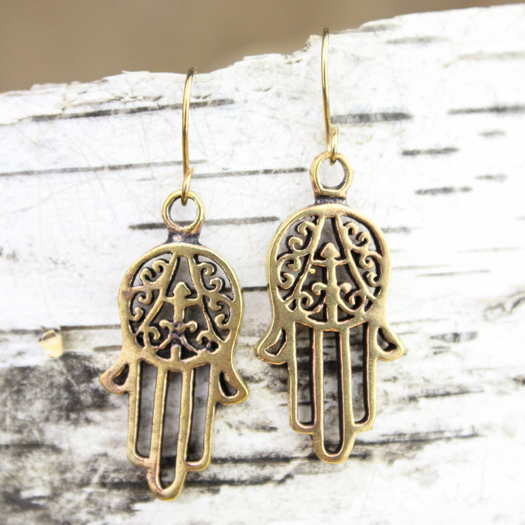 Auspicious Brass Hamsa Earrings