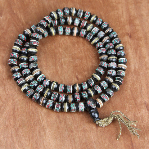 Vintage Black Bone Bead Prayer Mala