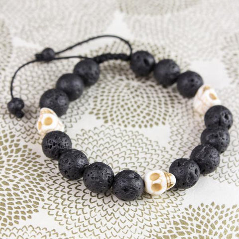 Lava and Skull Reflection Wrist Mala