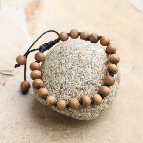 Hand Knotted Real Sandalwood Bracelet
