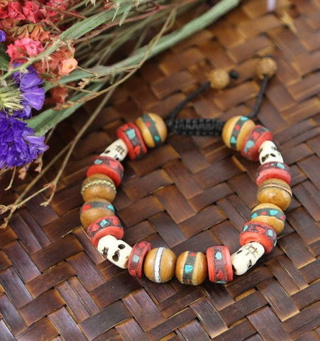 Wrist Malas Default Inlaid Bodhi Seed and Skull Wrist Mala wm268